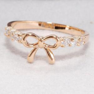 Cute Gold Rhinestone Bow Ring