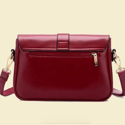 Leather Messenger Crossbody Bag Wit..