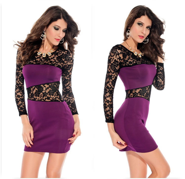 sexy purple hollow out lace dress on luulla