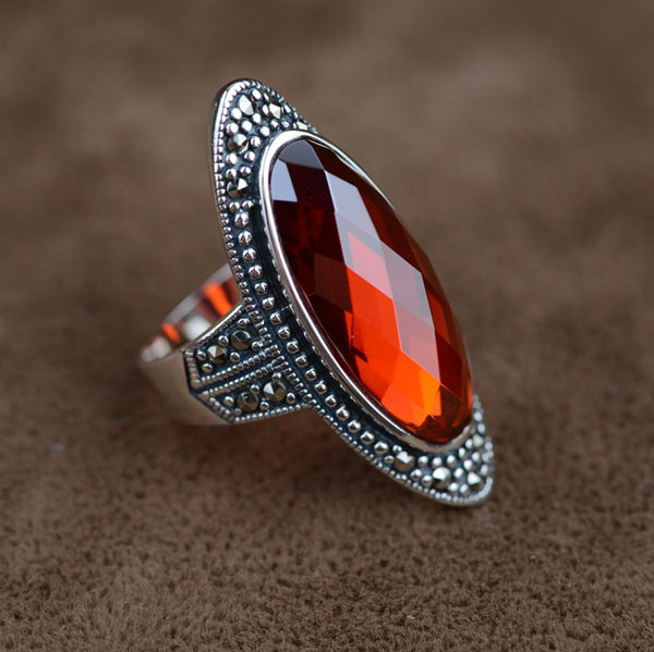5232a119b5ab Oval Jacinth Red Zircon Silver Ring on Luulla