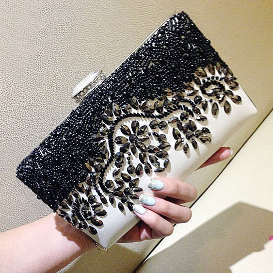 Black Beaded Rhinestone Clutch Bag