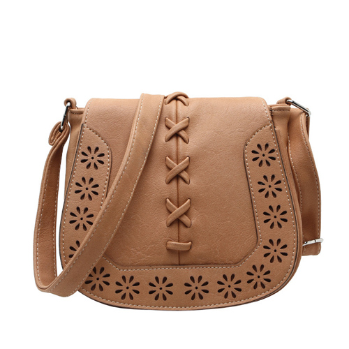 Cross-Stitch and Floral Perforated Crossbody Saddle Bag