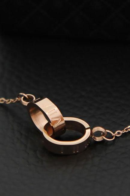 Fashion Circular Oval Double Ring Rhinestone Pendant Chain Necklace