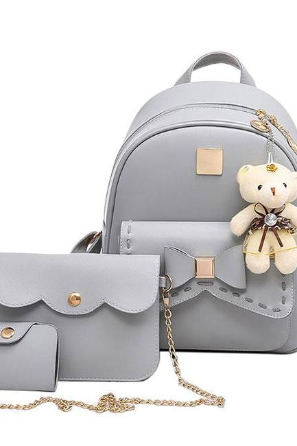 Cute Gray Pink Splicing Bowknot Bear Pendant PU School Backpacks