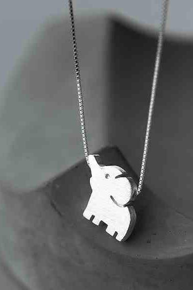 Elephant Pendant Unique Girl Friend's Gift Silver Animal Necklace