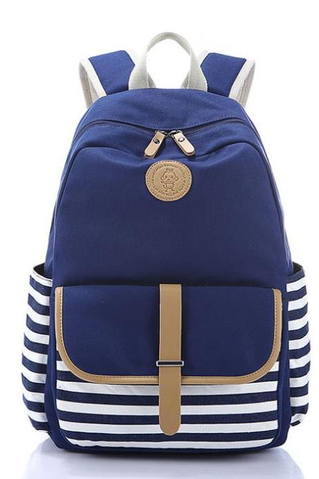 Simple Striped Backpack High School Rucksack Canvas School Bag Travel Backpack