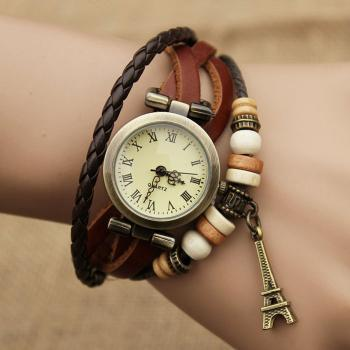 Fashion Twist Eiffel Tower Bracelet Watch- brown