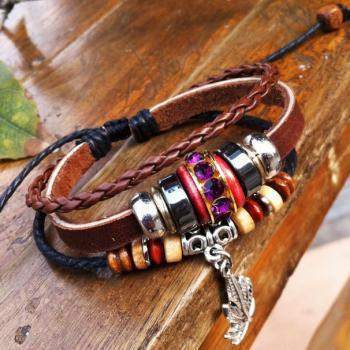 Retro Beads Leather Bracelet-brown