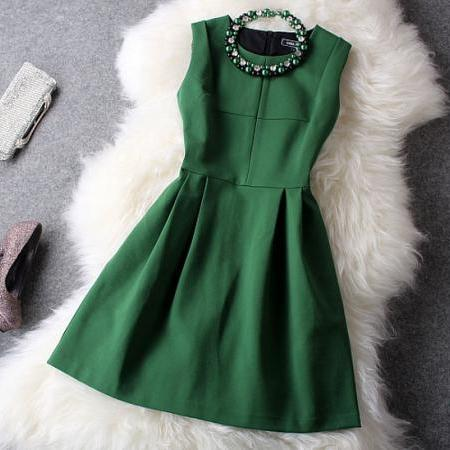 Fresh Green Party Dress &Dress (Gift Necklace)